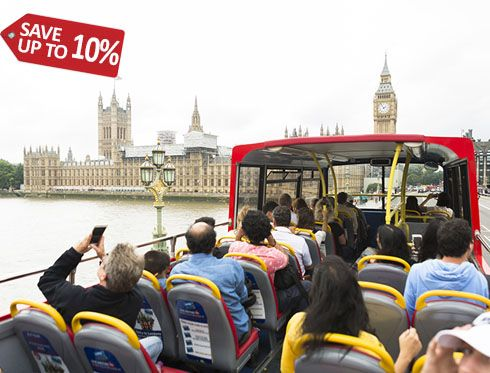 Discover London with the panoramic tour offered by London City Tour. One run without getting off the bus. Each bus has an automatic audio guide system in 10 languages providing information on each point of interest of the trip.With the purchase of this ticket you will be able to enjoy a relaxing River Cruise from Westminster to St. Katherine's Pier or from St. Katherine's Pier to Westminster Pier (only 1 way) for free. 19libras