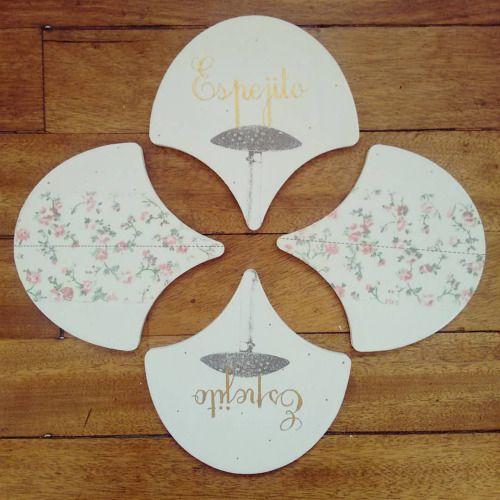 """ Espejito espejito "" set de 4 posa vasos  pieza única #Himallineishon #coasters #mirror #handpainted #homedecore"
