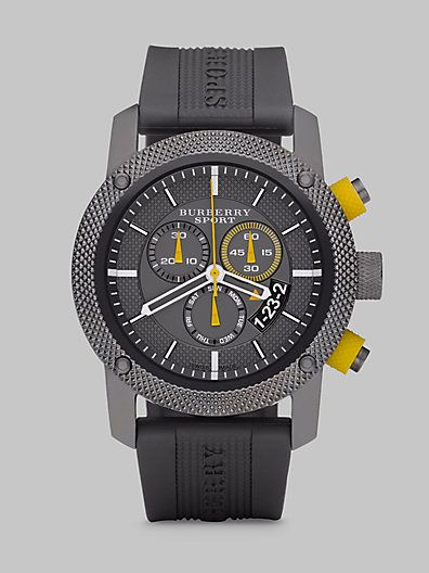 Burberry Chronograph Watch with Rubber Strap.