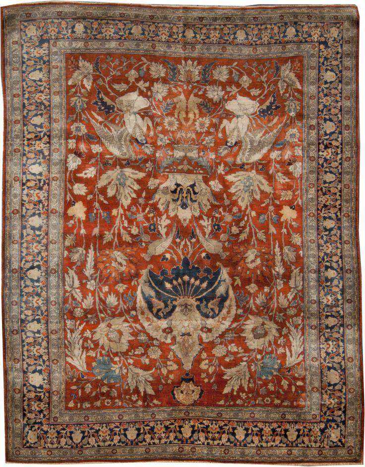 Amazing Antique Persian Tabriz Silk Rug