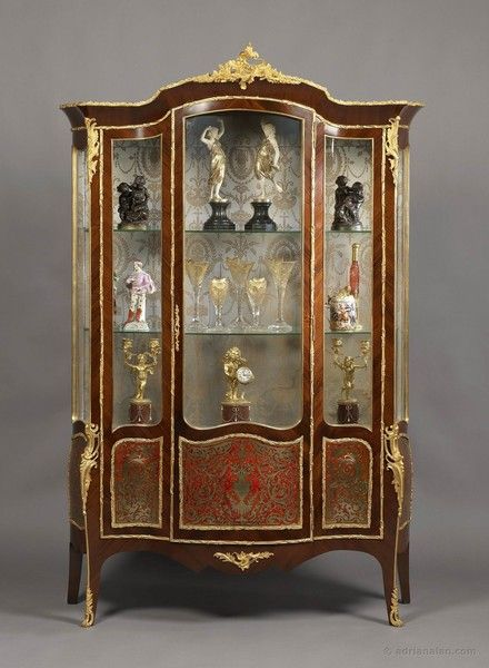 "A Very Fine Louis XV Style Gilt-Bronze Mounted Kingwood Serpentine Vitrine, With Boulle Marquetry Panels. Ca1880 France. 80.31""H x 53.15""W x 19.69""D."