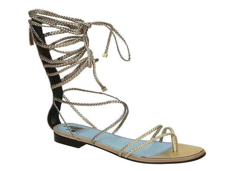 Lanvin flats strappy sandals in gold Calf leather - Italian Boutique €797