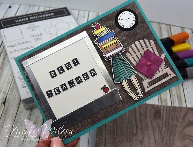 Nicole Wilson Independent Stampin' Up!® Demonstrator  Hand Delivered Hostess set teacher card #stampinup #onstage #onstage18 #stampinup30 #nicolewilsonstamp #handdelivered #books #teacher #displaystamper