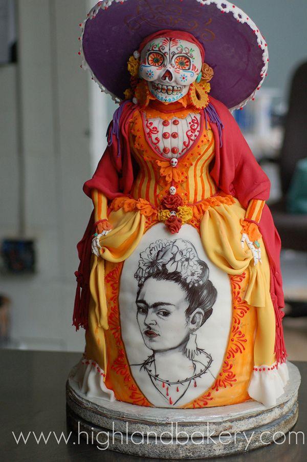Halloween Cake, or Dia de los Muertos Cake w/a Frida Kahlo underskirt
