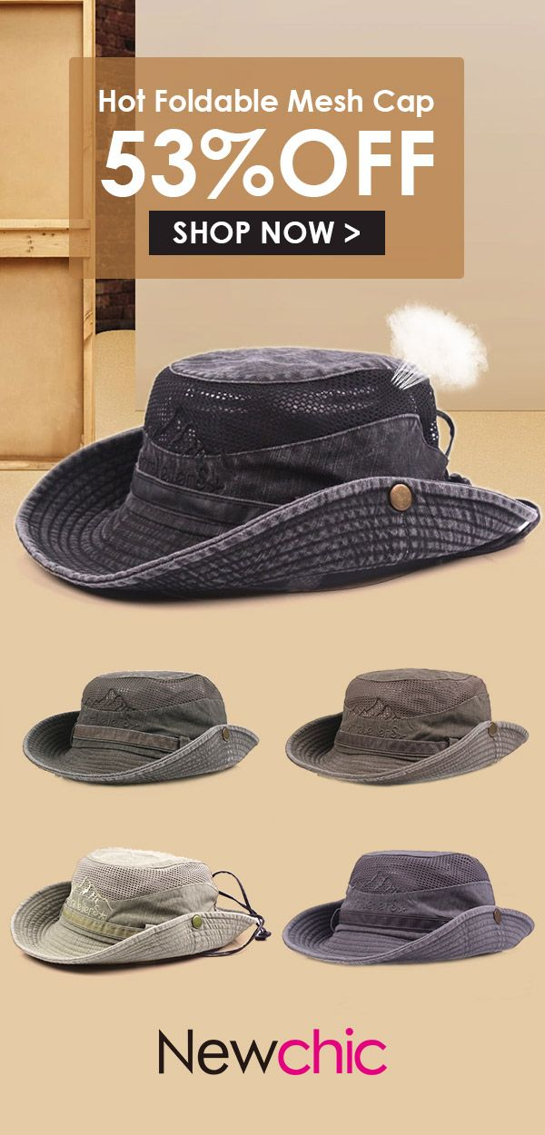 e33216e7902 Mens Cotton Embroidery Bucket Hats Fisherman Climbing Hat  outdoor  hats   mensfashion