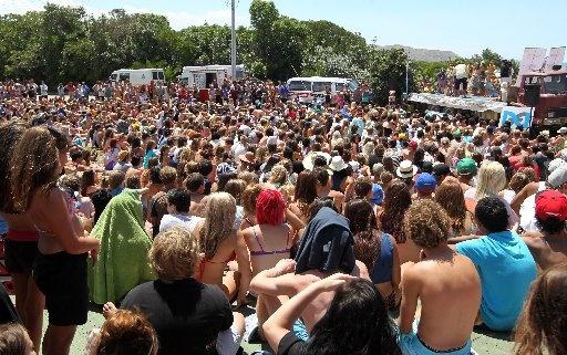 Crowd watching Wearable Beach art competition, and then Miss Waimarama competition - Waimarama Beach Day, Waimarama, 2013  Photographer: Duncan Brown
