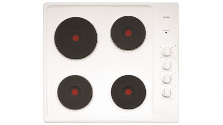 Chef 60cm 4 Solid Element Electric White Enamel Cooktop