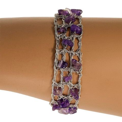 Handmade Silver Plated Knitted Bracelet with Amethyst Stones