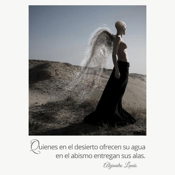 Quienes en el desierto ofrecen su agua en el abismo entregan sus alas. #Umbrales #AlejandroLanus #Aforismos