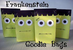 Frankenstein Goodie Bags by Summer from summerscraps.blogspot.com