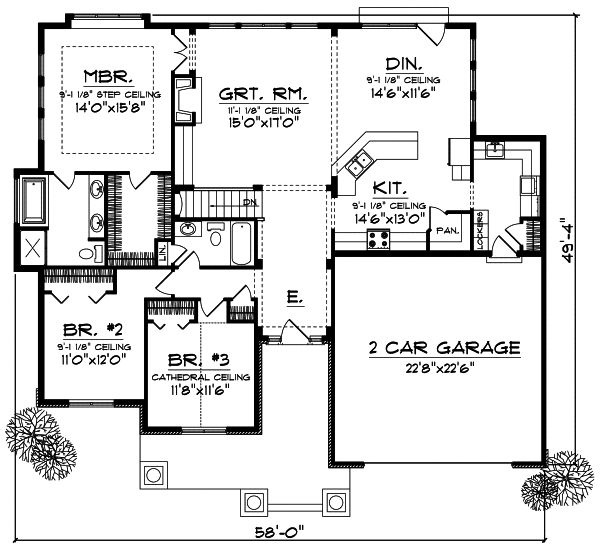 Craftsman style house plans 1844 square foot home 1 for Craftsman style homes open floor plans