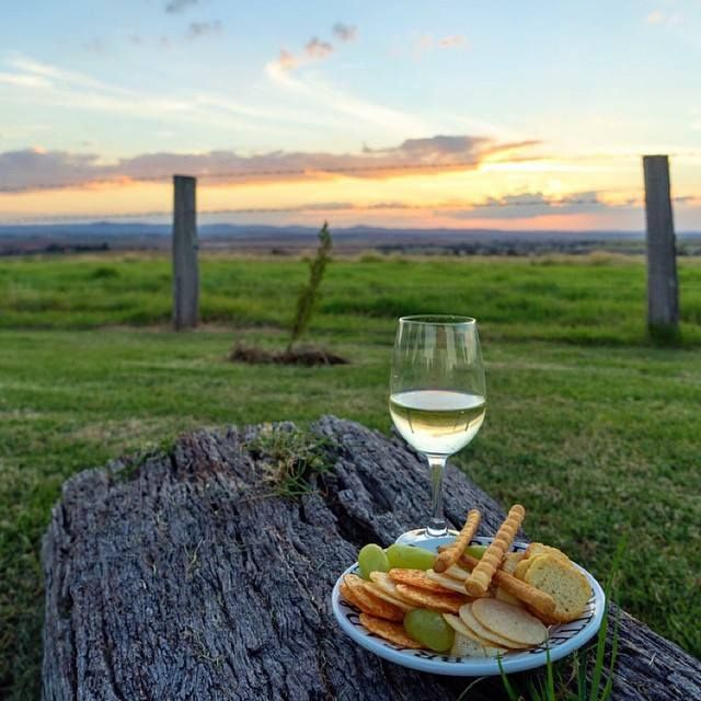 a glass of wine and some crackers at Southern Queensland Country
