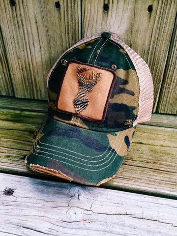 """Judith March"" Camo Hat with Beaded Deer Head Follow us on Instagram & Facebook ""Thelacegypsyboutique"""