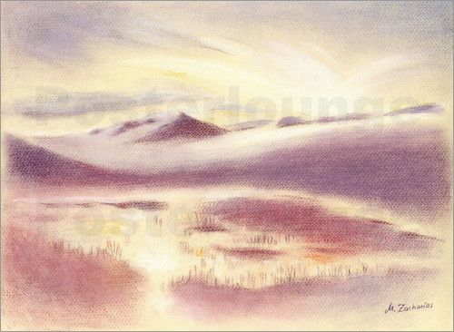 marita zacharias holiday iceland mystic sunrise pastel drawing art print at different. Black Bedroom Furniture Sets. Home Design Ideas