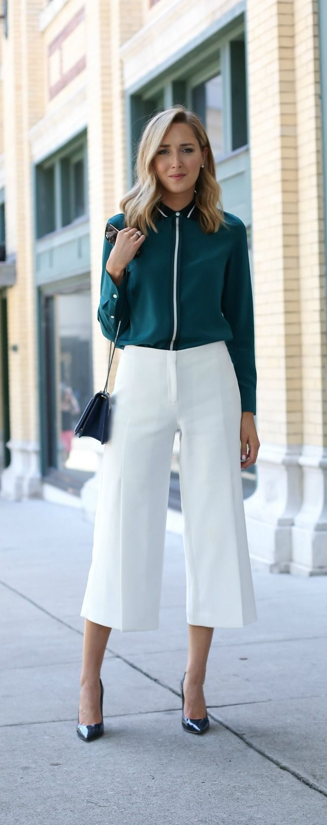 emerald long sleeve blouse, ivory culottes, navy patent pointed toe pumps, navy crossbody bag {rag & bone, jimmy choo, phillip lim}