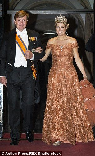 Making an entrance: The royal arrived on the arm of her 47-year-old husband, King Willem-A...
