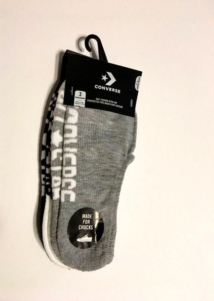 5ea3d37cdd2d0 3 Pair Converse Women s Half Cushion Ultra Low Socks Size 4-10 Gray White  Black  Converse  Athletic