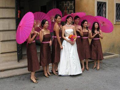 pink and brown wedding. Bridesmaids