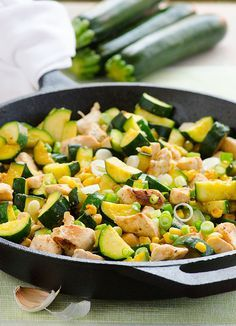 This Garlic Chicken, Zucchini and Corn is a 20 minute gluten free dinner recipe that was inspired by my Ukrainian roots. | ifoodreal.com