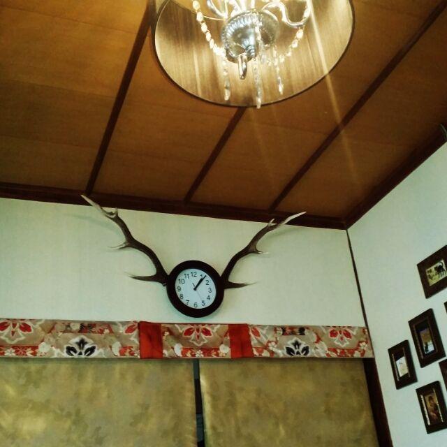 Anmituさんの、築60〜70年,古民家,大正ロマンに憧れて,鹿の角,時計,壁/天井,のお部屋写真
