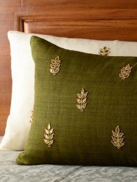 Olive Leaf Gota Patti Cushion Cover - 20in x 12in