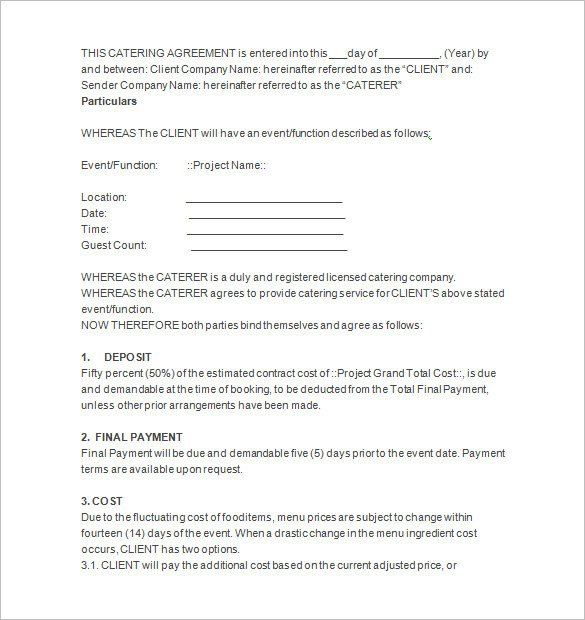 Contract For Catering Services Template Lovely 7 Catering Contract