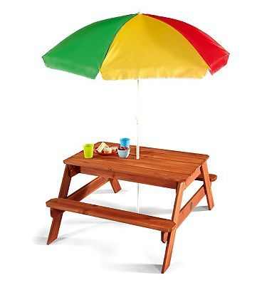 Plum Childrens Garden Picnic Table with parasol 336 Advantage card points. Your young children will feel all grown up with their own garden furniture, the perfect place for a tea party or to play games. FREE Delivery on orders over 45 GBP. (Barcode http://www.MightGet.com/april-2017-1/plum-childrens-garden-picnic-table-with-parasol.asp