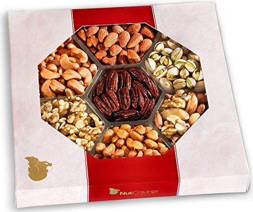 Nut Cravings Gourmet Nut Large Gift Tray with Striking Presentation  7Section Birthday Holiday or Anytime Assorted Nuts Gift Basket * BEST VALUE BUY on Amazon