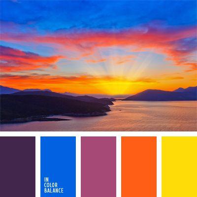 anaranjado y amarillo, azul claro fuerte, celeste y amarillo, color amanecer, color berenjena, color puesta de sol sobre el mar, color puesta del sol, color puesta del sol en el mar, color violeta fuerte, de color violeta, matices cálidos y fríos, rosado y violeta.