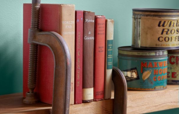 For a bit of rustic flare, sandwich your books between c-clamps