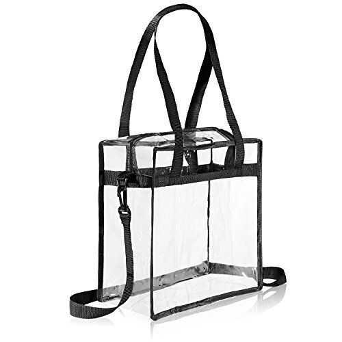 """Clear Tote Bag NFL Stadium Approved - 12"""" X 12"""" X 6"""" - Shoulder straps and zippered top. The clear bag is perfect for work, school, sports games and concerts. Meets NFL and PGA Tournament guidelines."""
