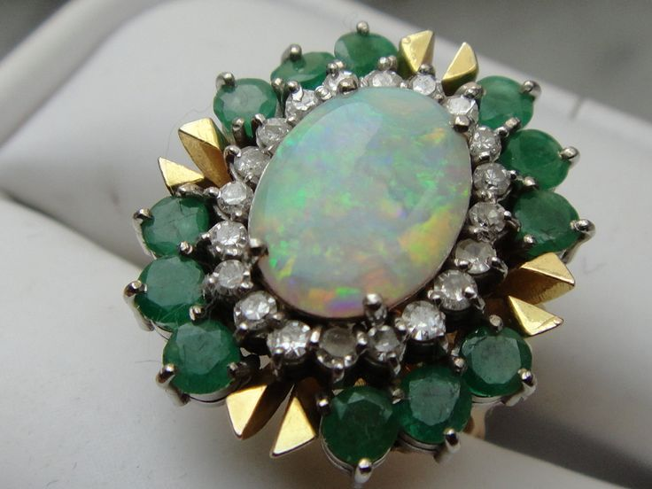 14K gold Emerald and Opal w/ Diamonds cocktail Ring