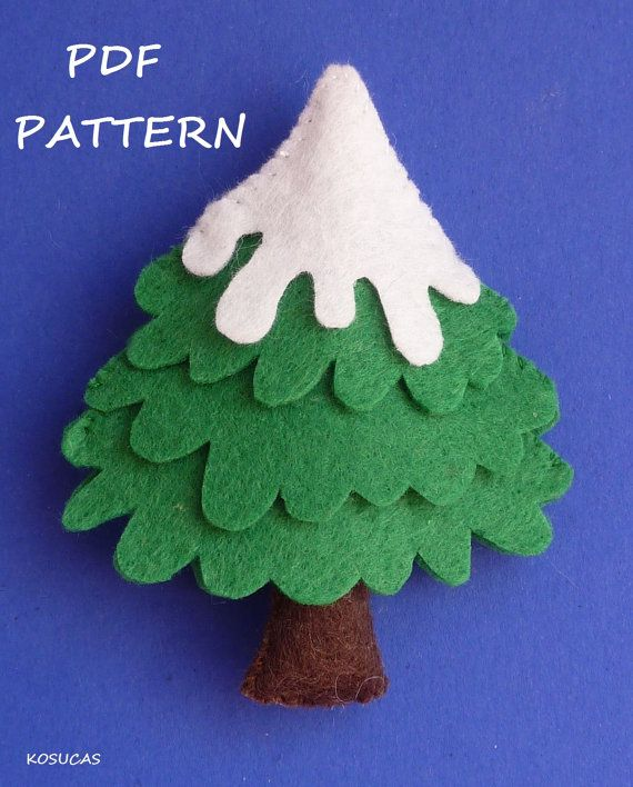 PDF sewing pattern to make a felt Snowman and a tree. by Kosucas: