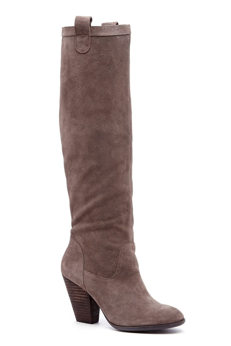 Neutral suede knee-high boots | Sole Society Rumer