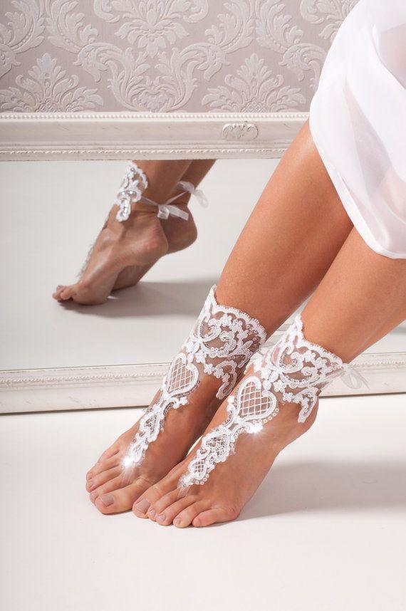 Pizzo da sposa Sandali a piedi nudi-Bridal shoes - matrimonio scarpe - sandali footless nuziali-spiaggia sposa in pizzo scarpe - nuziale accessorio - piede infradito