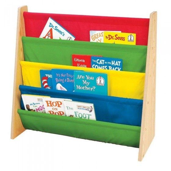 Librero de madera y tela en colores primarios