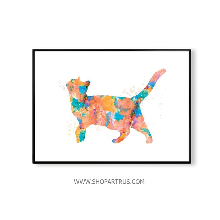Watercolor cat, cat print, cat watercolor, cat watercolor poster,cat poster, art, watercolor, wall art, animal poster, gift, home decor WT32 by artRuss on Etsy