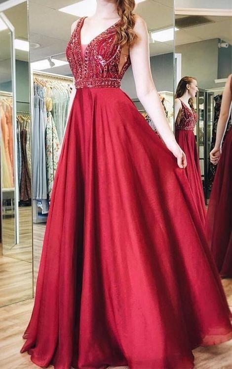 199fe6c7f2 V-neck A-line Beaded Long Prom Dress
