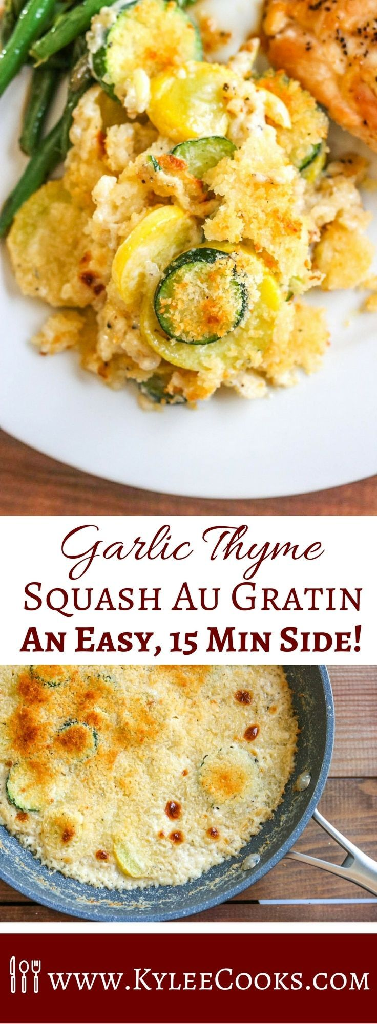 A very easy side, this Garlic Thyme Squash au Gratin comes together quickly while you cook other things! Decadent, creamy and garlicky - this will be the star of any dinner! via @kyleecooks