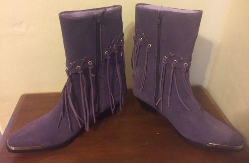 Oak-Tree-Farms-Purple-Suede-Leather-Fringe-Side-Zip-Boots-Western-Sz-7-5