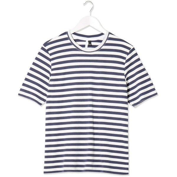 Boutique Striped Crew Neck Tee by Boutique (69 CAD) ❤ liked on Polyvore featuring tops, t-shirts, blue, striped tee, crewneck t-shirt, blue striped t shirt, blue top and white tee