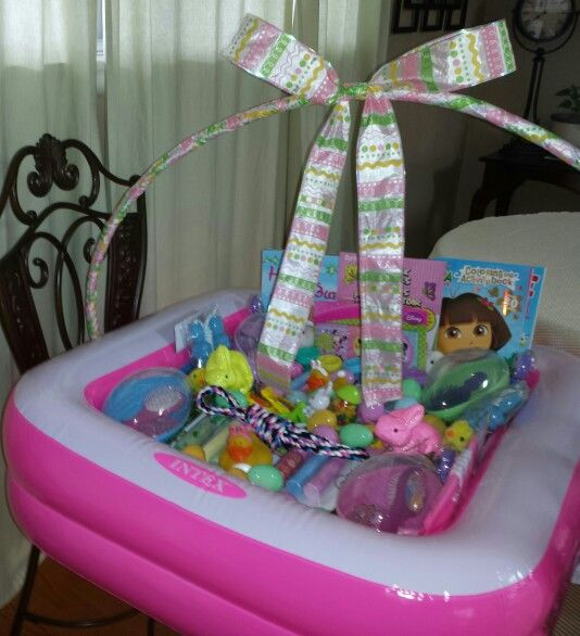 25 best the best pool toy holiday gifts images on pinterest easter basket i made for my 4 granddaughters made with a swimming pool and hula negle Gallery