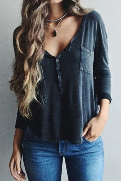V-Neck Long Sleeve Solid Color Shirt Blouse Tops
