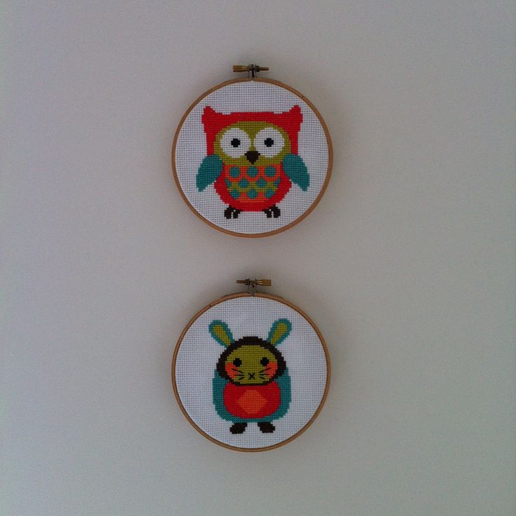 Day 007 - cross stitch owl and bunny framed on hoops