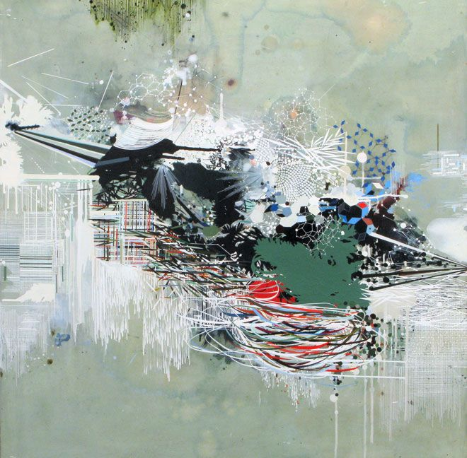 Reed Danzinger -  A Continuously Differentiable Function, 2011  oil, graphite, and mixed media on paper on panel   40 x 40 in