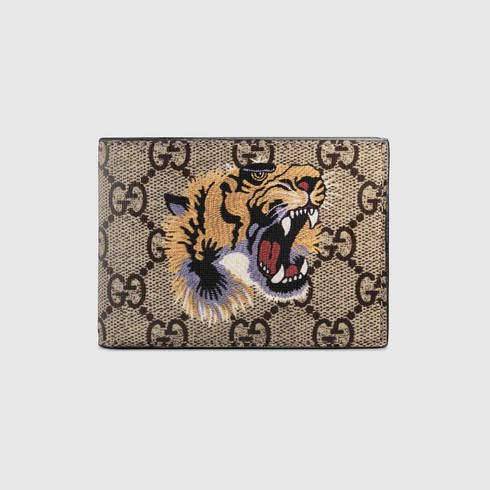 Tiger print GG Supreme wallet