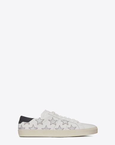 SAINT LAURENT Signature California Sneaker In White Leather And Silver Metallic Leather. #saintlaurent #shoes #