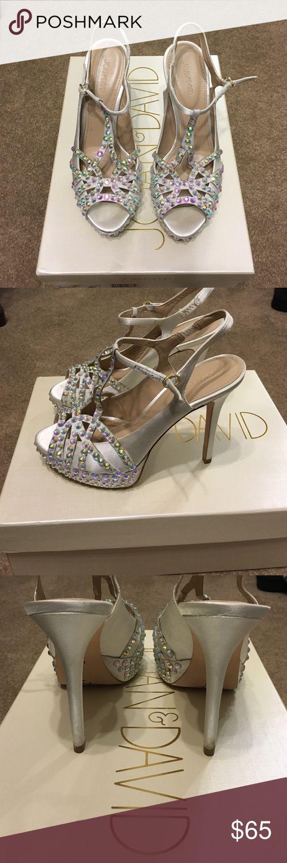 White satin crystal heels Joan & David white satin heels with Rhine stone embellishment Joan & David Shoes Heels