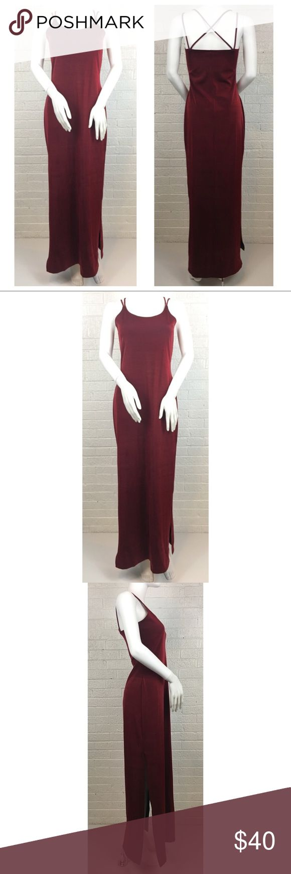 90s burgundy prom dress Formula X Nylon/spandex slim fit spaghetti strap slip style dress with mid length slits on both sides. Juniors size large but runs small, measurements to come. (Mannequin is small) formula x Dresses Prom