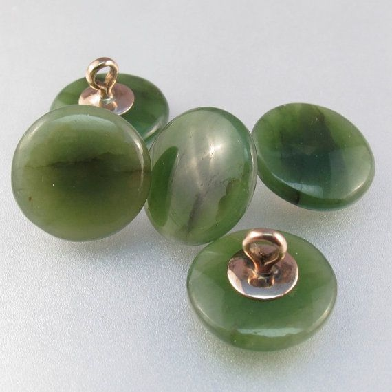 ANTIQUE JADE 10KT gold buttons. china. chinese. vintage. green stone  -antique jade buttons with gold shanks - you get what is pictured -gold tested